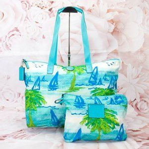 Coach Travel Vacation Tote Bag W/Removable Pouch